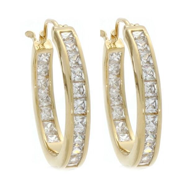 Nexte Jewelry Gold Overlay Cubic Zirconia Hoop Earrings