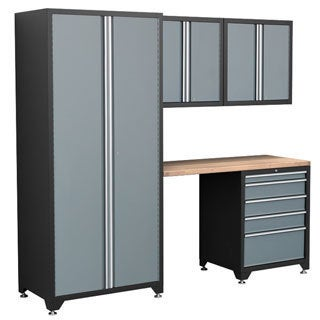 NewAge Products Pro Series 5-Piece Grey Cabinetry Set with Locker