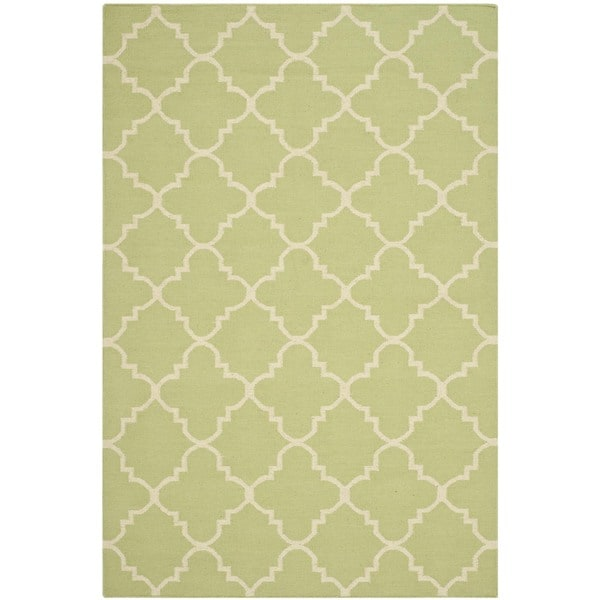 Safavieh Hand-woven Moroccan Reversible Dhurrie Light Green/ Ivory Wool Rug (4' x 6')