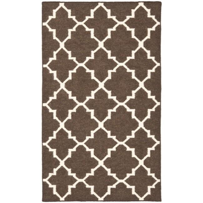 Safavieh Hand-woven Moroccan Reversible Dhurrie Brown/ Ivory Wool Rug (4' x 6')