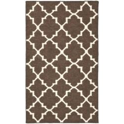Safavieh Hand-woven Moroccan Dhurrie Brown/ Ivory Wool Rug (4' x 6')