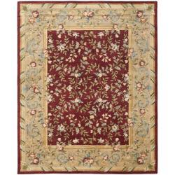 Safavieh Handmade Gardens Red/ Dark Beige Hand-spun Wool Rug (9' x 12')