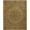 Handmade Medallion Light Brown/ Grey Wool Rug (7'6 x 9'6)