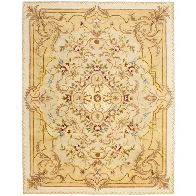 Safavieh Handmade Aubusson Creteil Beige/ Light Gold Wool Rug (7'6 x 9'6)