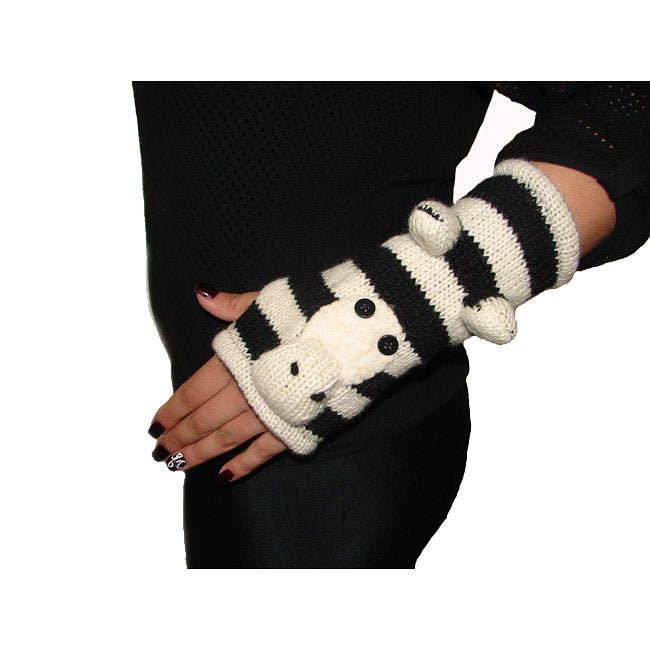 Hand-Woven 100-percent Cotton Black/White Zebra Arm Warmers (Nepal)
