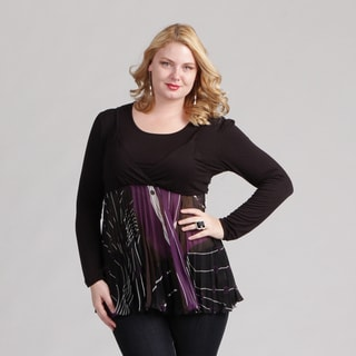 Kaelyn Max Women's Plus Size Pleated Empire Waist Tunic