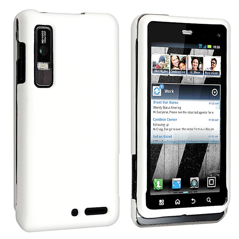 White Rubber Coated Case for Motorola Droid 3 XT862