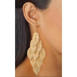 PalmBeach Yellow Goldtone Filigree Leaf Dangling Earrings Bold Fashion