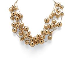 Toscana 17-inch Goldtone High-polish Brass Link Beaded Necklace