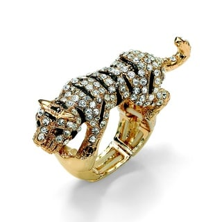 Lillith Star Goldtone Black and White Cubic Zirconia Tiger Stretch Ring