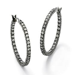 Lillith Star Black-ruthenium-finish Cubic Zirconia Hoop Earrings