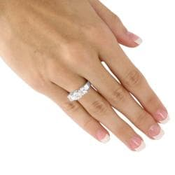 Ultimate CZ Sterling Silver Clear Cubic Zirconia 3-stone Ring