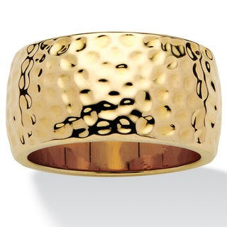 PalmBeach 14k Gold-Plated Hammered-Style Band Tailored
