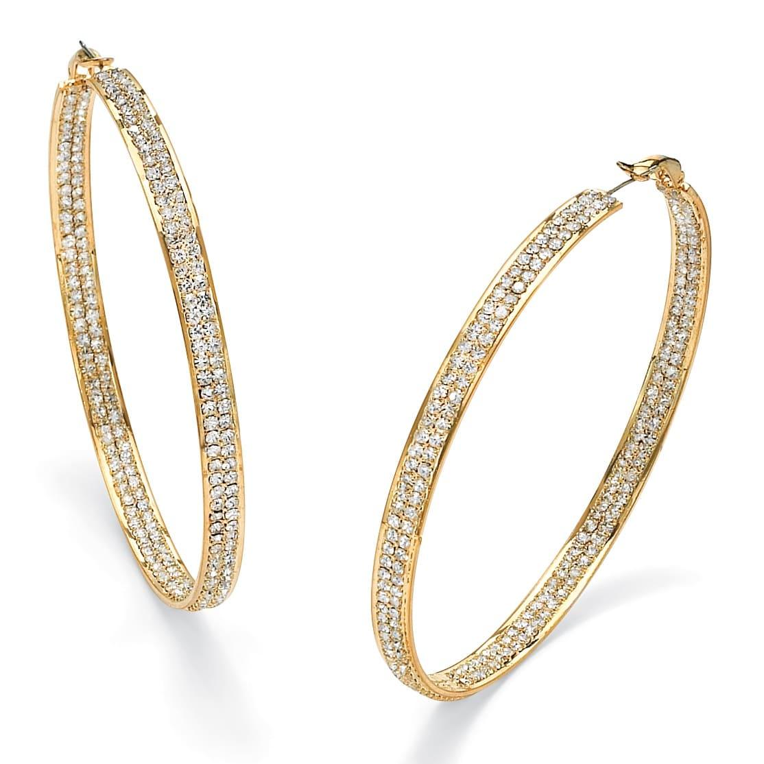 PalmBeach Jewelry Yellow Goldtone Cubic Zirconia Crystal Hoop Earrings Bold Fashion