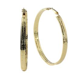 PalmBeach Jewelry Yellow Goldtone Cubic Zirconia Crystal Hoop Earrings Bold Fashion