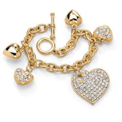 Palm Beach Jewelry Gold-tone Crystal Multi-heart Charm Bracelet