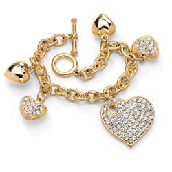 Palm Beach Jewelry Gold-tone Crystal Multi-heart Charm Bracelet