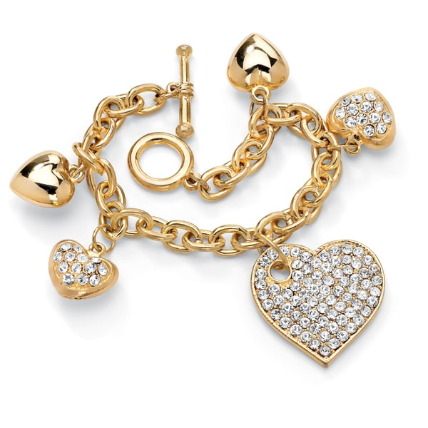 "PalmBeach Crystal Multi-Heart Charm Bracelet in Yellow Gold Tone 8"" Bold Fashion"