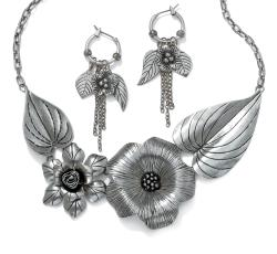 PalmBeach Silvertone Antique-Finish Flower and Leaf Bib Necklace and Earrings Set Bold Fashion