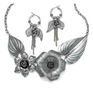 "Silver Tone Antiqued Bib Necklace (44mm), 16"" plus 2"" extension"