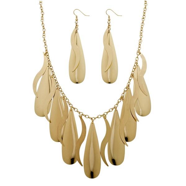 PalmBeach Gold Overlay Multi-disc Drop Jewelry Set Bold Fashion