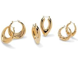 Toscana Collection Goldtone 3-pair Hoop Earring Set
