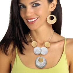 Toscana Collection Goldtone Circle Disk Necklace and Earring Set