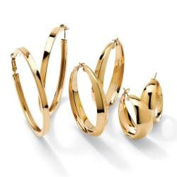 PalmBeach 14k Goldplated 3-pair Hoop Earring Set Tailored