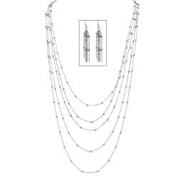 Toscana Collection Silvertone Beaded Station Necklace and Earring Set