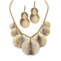 Toscana Collection Goldtone Multi-Disk Necklace and Earring Set