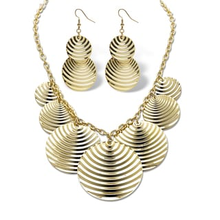 PalmBeach Goldtone Multi-Disk Necklace and Earring Set Bold Fashion