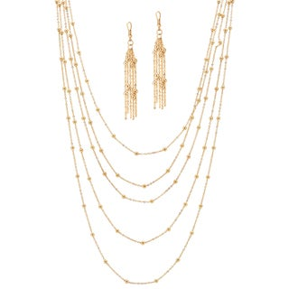 PalmBeach Goldtone Beaded Station Necklace and Earring Set Tailored