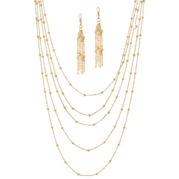 """PalmBeach 2 Piece Multi-Chain Beaded Station Necklace and Drop Earrings Set in Yellow Gold Tone 33"""" Tailored"""