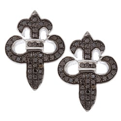 Sterling Silver 2/5ct TDW Black Diamond Fleur De Lis Earrings