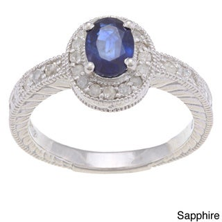 Viducci Sterling Silver Blue Sapphire and 2/5ct TDW Diamond Ring (G-H, I1-I2)