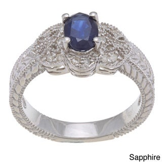 Viducci Sterling Silver Blue Sapphire and 1/5ct TDW Diamond Ring (G-H, I1-I2)