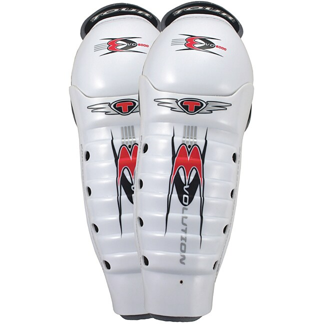 Tour Hockey EVO 6000 Roller Hockey White Adjustable Shin Guards