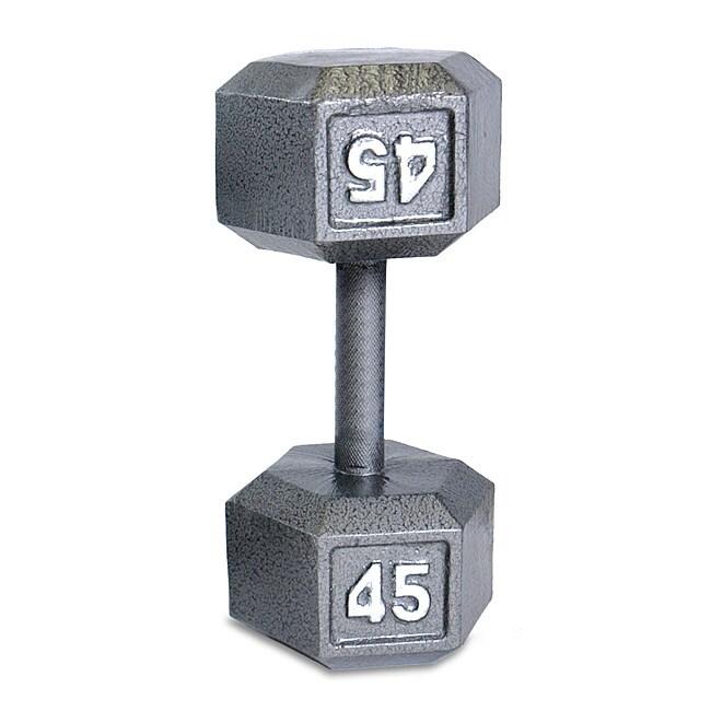 CAP Barbell 45 lb Grey Cast Iron Hex Dumbbell