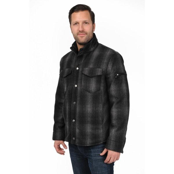 R & O Men's Black/ Grey Wool-blend Plaid Shirt Jacket