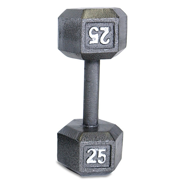 CAP Barbell 25-pound Gray Semigloss Cast-iron Hexagon Dumbbell