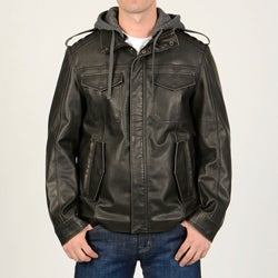 R&O Men's Black Faux Leather Multi Pocket Jacket