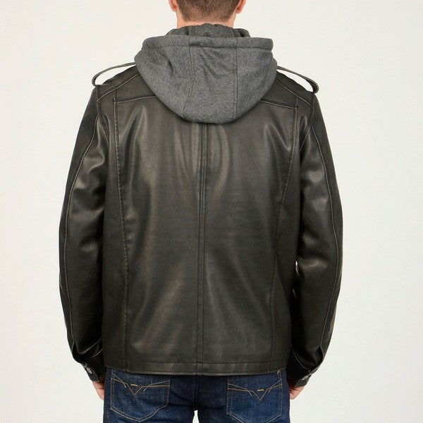 R&O Men's Black Faux Leather Multi Pocket Jacket