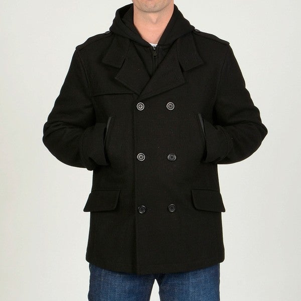 Chaps Men's Black Wool-blend Hooded Peacoat