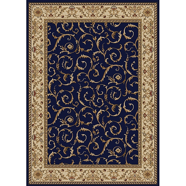 Amalfi Scroll Navy Blue Area Rug (5'5 x 7'7)