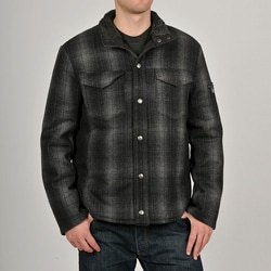 Chaps Men's Black Wool-blend Plaid Shirt Jacket