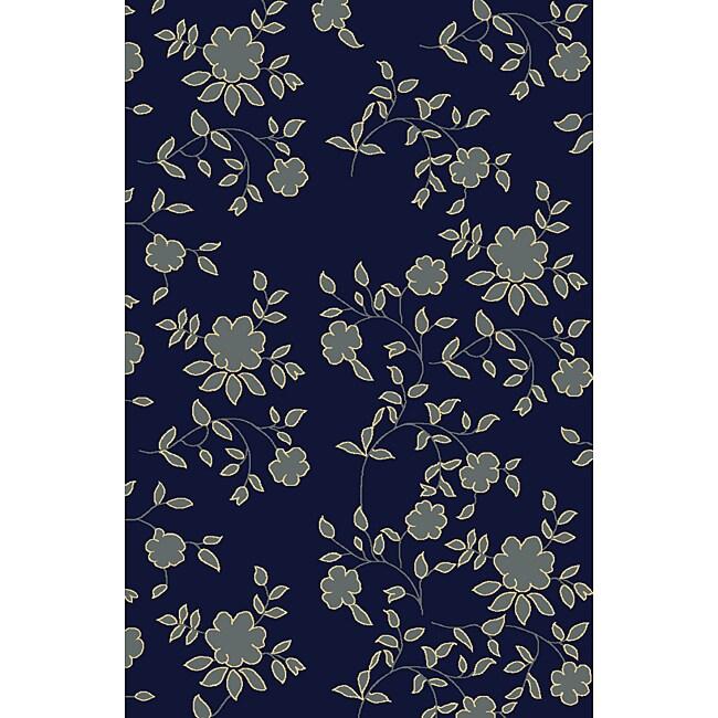 Impressions Navy Blue Area Rug (5'5 x 7'7)