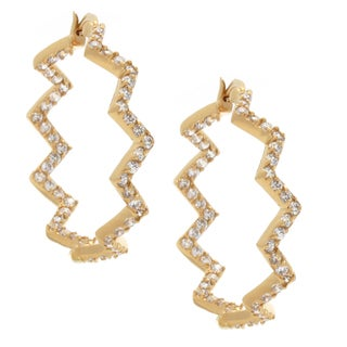 NEXTE Jewelry Gold Overlay Cubic Zirconia Zig-Zag Earrings