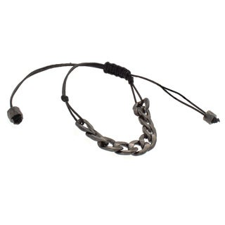 NEXTE Jewelry Gunmetal Cuban Chain Leather Bracelet