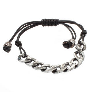 NEXTE Jewelry Silvertone Cuban Chain Leather Bracelet