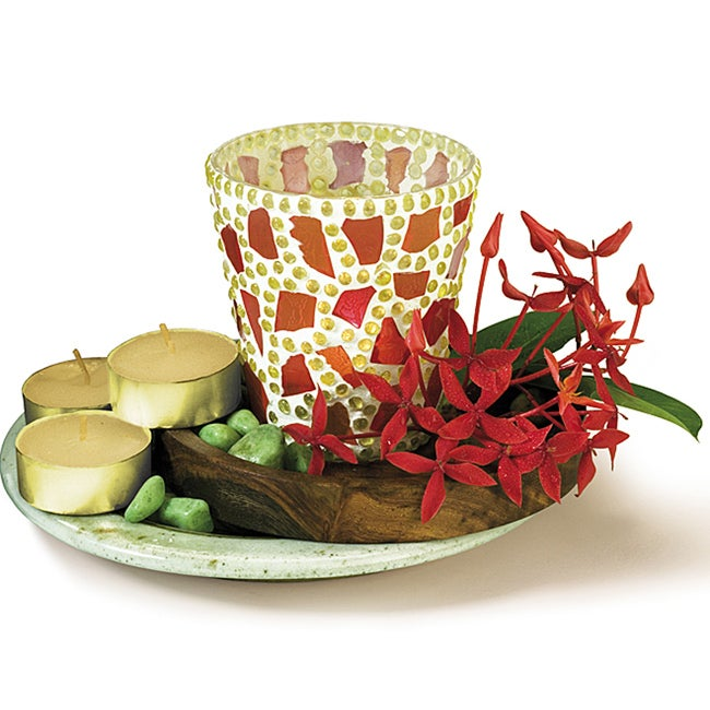 Mosaic Candle Holder with Ginger Tea Light (India)
